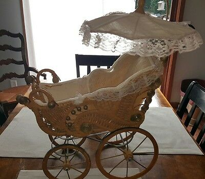 Vintage Wicker Wood Lace Canopy Baby Doll Buggy Carriage