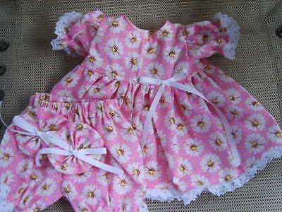 "16"" cabbage patch doll clothes pink with white dasies dress bloomers hair bows"
