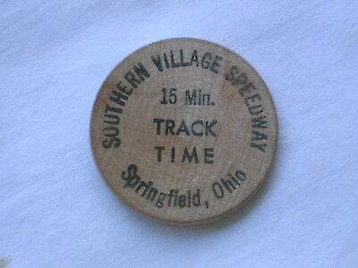 Vintage Wooden Nickel-Southern Village Speedway Track Time-Springfield, Ohio