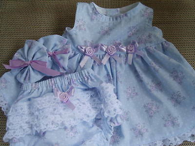 "16"" cabbage patch doll clothes blue with flowers sleevless rumba panties bows"