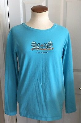 Life Is Good Women's long Sleeve Tee Blue Shirt Size M Classic Fit