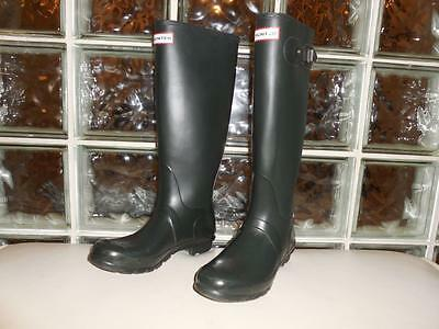 Hunter Dark Green Matte Rubber Rain Boots Original Tall Women's Size 8