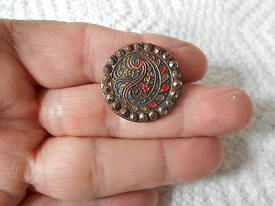 Antique/vintage Victorian Button With Cut Steels And Paint #86