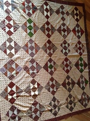 VINTAGE ANTIQUE CIVIL WAR QUILT TOP COTTON PATCHWORK HAND STITCHED Madders?