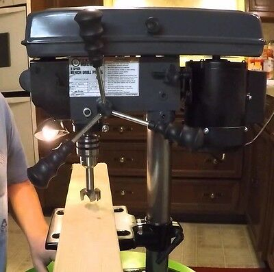 """8"""" Bench Mount Drill Press Table Rotates 360° & Tilts 45° Left & Right 5 Speed"""