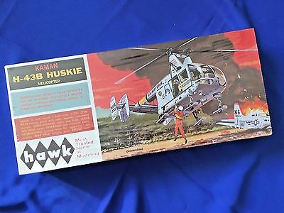 VINTAGE HAWK KAMAN H-43B HUSKIE HELICOPTER plastic model kit in 1/32 scale