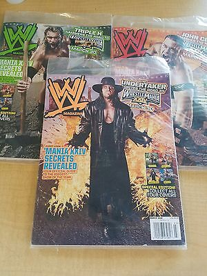 WWF MAGAZINE Lot of 3 variant covers - all March 2008 issues - Mint in plastic!