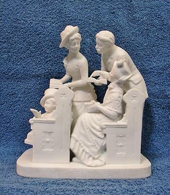 1970s Rogers Group by Reed & Barton Porcelain Bisque NEIGHBORING PEWS Figurine