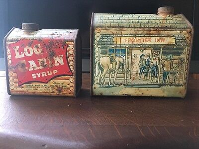 Authentic Vintage Log Cabin Pancacke  Syrup Tins
