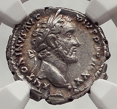 ANTONINUS PIUS 158AD Rome Authentic Ancient Silver Roman Coin NGC Ch XF i62477