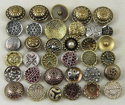 Antique Vintage Buttons ~ Mixed Designs, Metals, Accents ~ Lot of 35, Some Sets