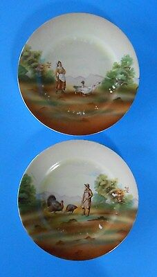 2 Royal Bayreuth Biscuit Plates Girl with Geese & Man with Turkeys