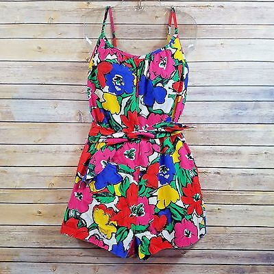 CATALINA Romper Play Bathing Suit AUTHENTIC VINTAGE Midcentury 50'S Floral Sz 14