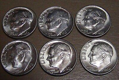 *6* 90% Silver Roosevelt Dimes In Very Nice Condition (2) 61, 64, 62, 57,56