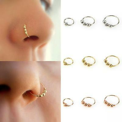 1Pc Lovely Gold Silver Round Beads Nose Ring Stud Hoop Piercing Jewelry 6/8/10mm