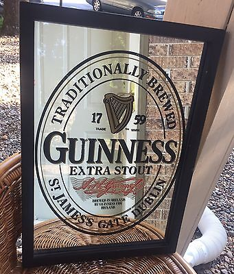 Guinness  Extra Stout Framed Mirror Beer Sign Man Cave