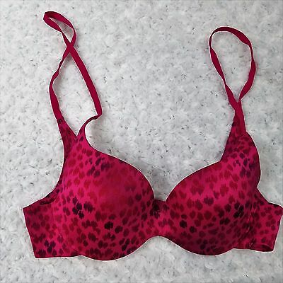 072c37e7c8 VICTORIA SECRET LINED No wire Pink   Gray Leopard Animal Print Bra ...