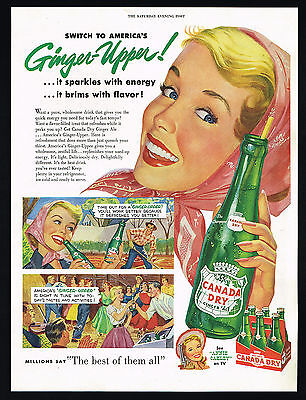 1954 Canada Dry Ginger Ale Pretty Blonde Woman Square Dance Vintage Print Ad