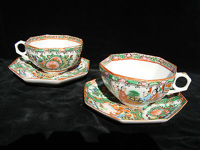 Antique Pair of Chinese porcelain Rose Medallion Famille Tea Cups & Saucers VG