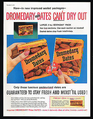 1957 Dromedary Pitted Dates Improved Package Vintage Print Ad