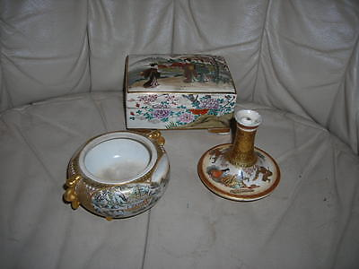 Collection Of 3 Antique Satsuma Meiji Period 19Th C. Japanese Box, Vase, Bowl