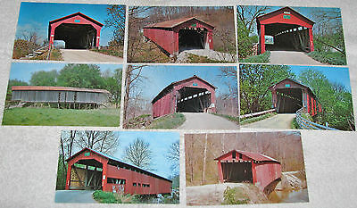 Lot of 8 Covered Bridge Postcards Putnam County IN 1960s-70s