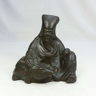 F407: Japanese old BIZEN potter SHIKA-JURO statue with good atmosphere.