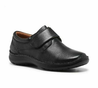 Mens Hush Puppies Bloke Black Leather Extra Wide Slip On  Work Men's Dress Shoes