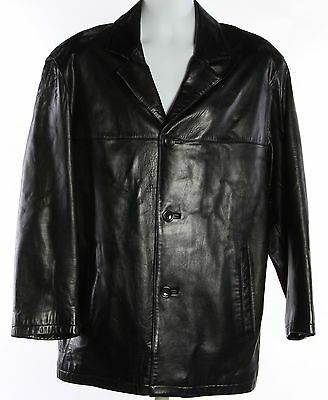 Men's MARC NEW YORK Black Leather Long Sleeve Basic Coat Size L