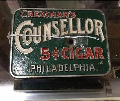 Vtg Cressman's Counsselor Advertising Mechanical Store Counter Top Cigar Cutter