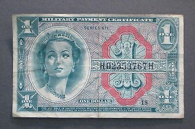One Dollar Military Payment Certificate - Series 611  MPC - *No Reserve* (P039)