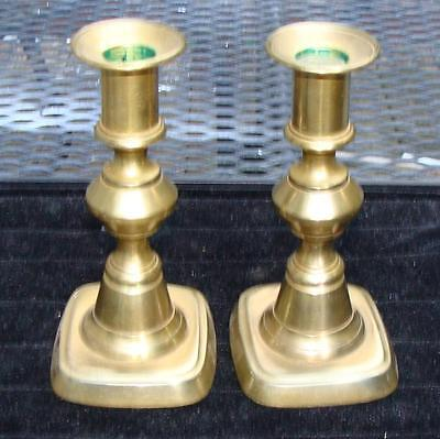 Pair of Short Antique Brass Turned Push-Up Candlestick Holders, 19th Century