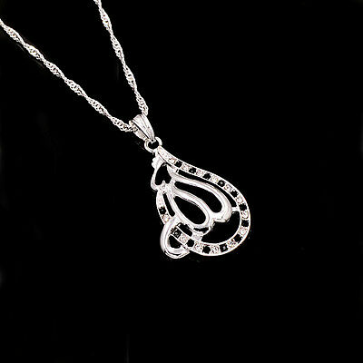 Islamic Allah Silver Plated White-Black Rhinestone Pendant Necklace Jewelry