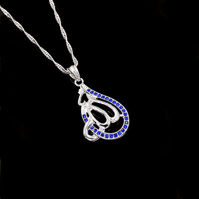 New Islamic Allah Silver Plated Royal Blue Rhinestone Pendant Necklace Jewelry