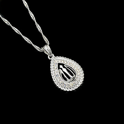 Religious Islamic Allah Silver Plated Clear Rhinestone Pendant Necklace Jewelry