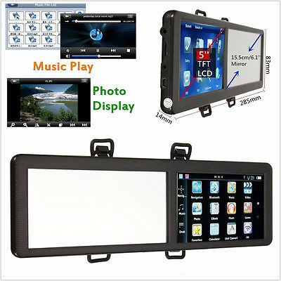 "Backup Camera 5"" 8GB Bluetooth Rearview Mirror GPS Navigation America Map"