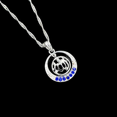 Islamic Allah Silver Plated White-Blue Rhinestone Pendant Necklace Jewelry Gift