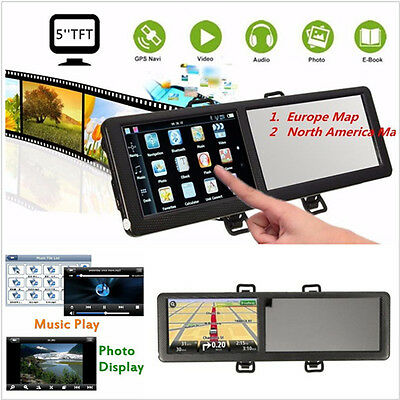 5'' TFT 8GB Touch Screen Bluetooth Car GPS Navigation SAT NAV & Rearview Mirror