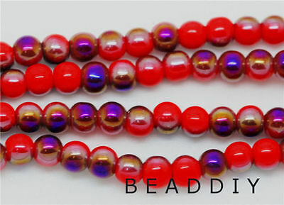 100 Pcs Ball Crystal Glass Red AB JEWELRY DIY round Spacer Beads 4mm