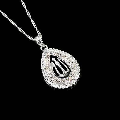 Religious Islamic Allah Silver Plated Clear Rhinestone Big Pendant Necklace