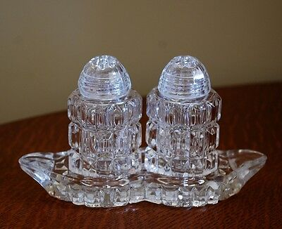 Vintage Crystal Salt Pepper Shakers Glass Lids And Underplate