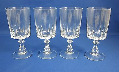 Four (4) Wine Glasses Louver Durand Cristal d'Arques Clear Crystal