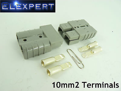 Anderson Plug 50 Amp_Battery Connector_Jump Start_Slave Assist_X2_Grey_10Mm2
