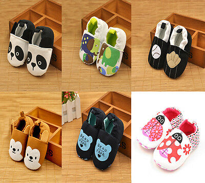 Cute Infant Toddler Baby Boy Girl Soft Sole Crib Cotton Animal Shoes 0-12 Months