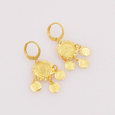 Fashion Women 18K Gold Plated Arab Islamic Religious Coin Earrings Jewelry Gift