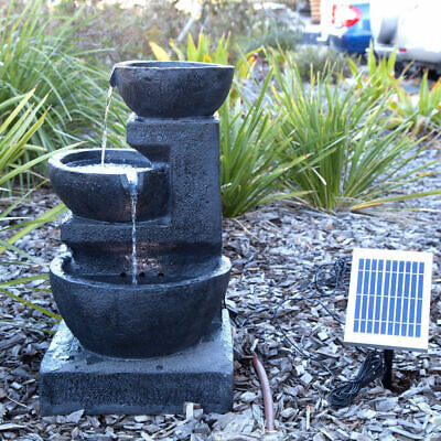 Solar Panel Powered 3 Tiers Casarding Water Fountain LED Light Garden Outdoor