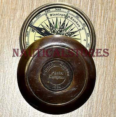 Vintage Brass Compass Pocket Watch Antique Pirates Engrave Poem Compass Lid Cap.