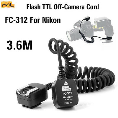 Pixel FC-312M 3.6M Flash TTL Off-Camera Cord Hot shoe connection cable For Nikon