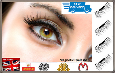 3D MAGNETIC Natural Thick Eye Lashes Extension Handmade 4 lashes/1 pair  UK