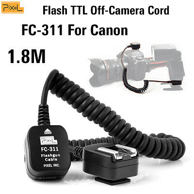 Pixel FC-311/S Flash TTL Off-Camera Cord For Canon Speedlite Hot Shoe S-1.8m